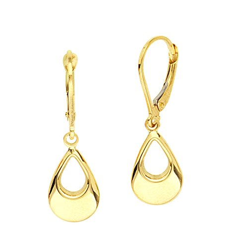 Dangle Earrings, 10Kt Gold Dangle 3D Open Teardrop Lever Back Ear