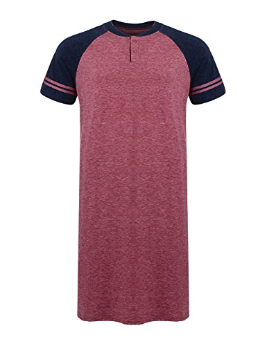 Ekouaer Men's Sleepshirt Lightweight Short Sleeve  Night Shirt (Red, - Nightshirt Red