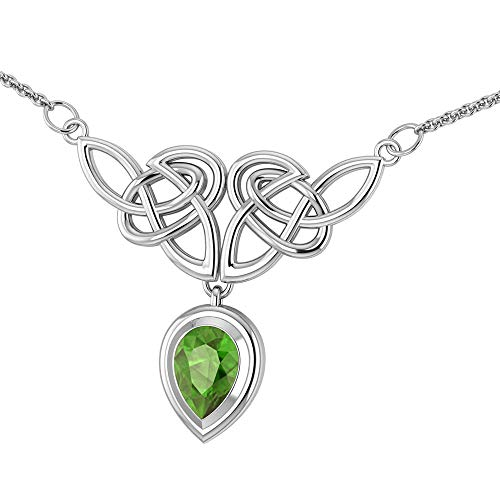 Sterling Silver Celtic Knot Knotwork Necklace with a Bright Green 7x10mm Peridot (Peridot Celtic Knot)