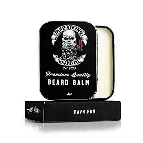 Mad Viking Beard Co Ravn Rom 2 Ounce Beard Balm, Medium to Heavy Hold, All Natural and Organic Ingredients, Paraben and Cruelty-Free, Maintain and Manage Beard Hair, Best Gift for Him and Husband