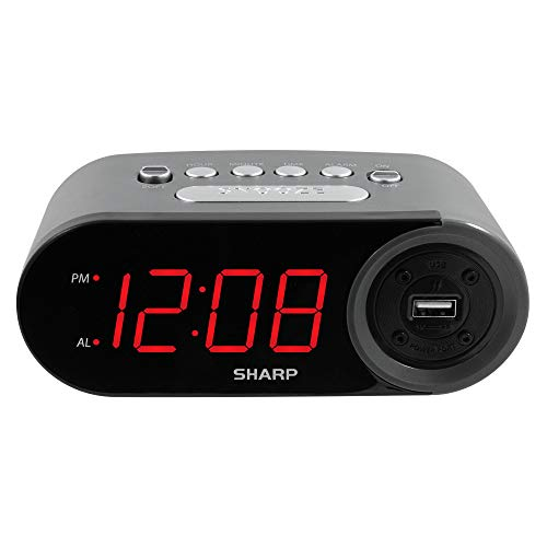 SHARP Digital Easy to Read Alarm Clock with 2 AMP High-Speed USB Charging Port