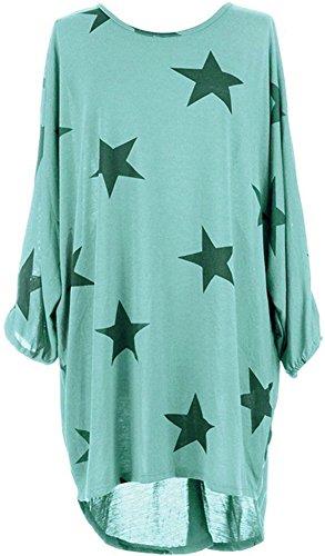 Green Hem 3 Drapey Oversized Mint PinupArt Sleeve Women's 4 High Low Print Dress Star q84xxOTwt