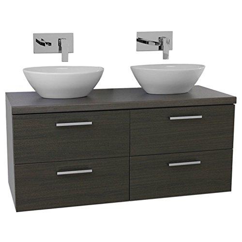 "cheap Iotti Iotti AN57 Aurora Double Vessel Sink Bathroom Vanity with Wall Mounted, 45"", Grey Oak"