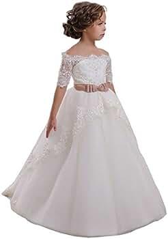 VIPbridal Appliques de Encaje Vestido de niña de Flores para la Boda con Las Mangas