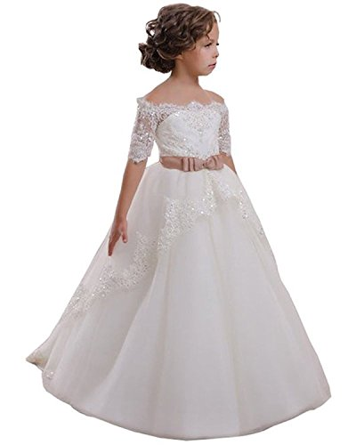 VIPbridal White Flower Girl Dress with Lace Beading First Communion Dress: Amazon.co.uk: Clothing