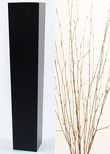 Green Tall Vase - Green Floral Crafts Natural Branches in Tall Tapered Black Floor Vase - 36 in.H x 7.5 in. Opening