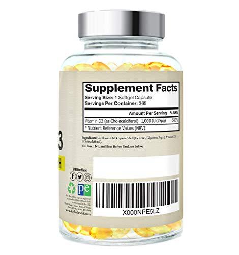 Vitamine D3 Dose Optimal Puissance 1,000 IU (1 An d'Approvisionnement) Supplément, Seulement Un COMPRIME PAR JOUR Par…