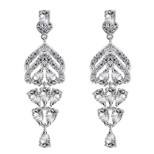 925 Sterling Silver Fashion Temperament Personalized Tassel Fringe Diamond Earrings Girls Women Pierced Earrings Ear Studs Ear Drop Jewelry, with a Gift Box, Ideal Gift for Birthdays Christmas Wedding