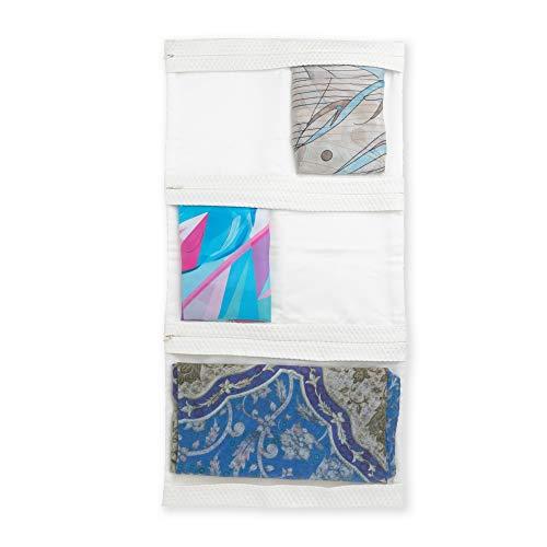 Silk Organizer - R. Culturi Scarf Organizer for Closet or Travel Accessory/Holder and Hanger Storage Organizer for Silk/Cotton/Light Cashmere or Wool Scarves