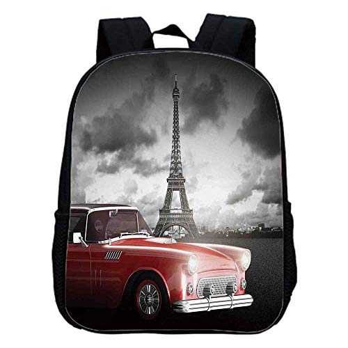 (Paris Decor Fashion Kindergarten Shoulder Bag,Fancy Vintage Car with Tour Eiffel in Cold Cloudy Day Romantic Theme Retro Style Art Photo For Hiking,One_Size)