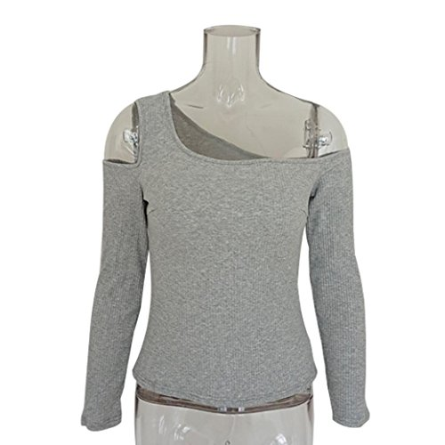 Camicetta T Shirts Top Collo O Ladies YUMM Donna Tops Grigio Solido Sciolto Casuale H0qPUY