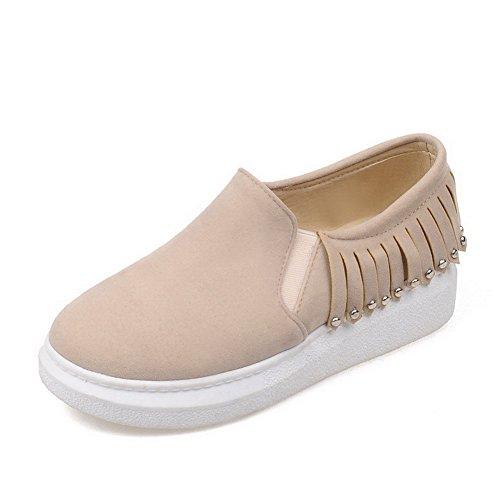 Amoonyfashion Dames Pull Op Lage Hakken Frosted Solide Ronde Gesloten Teen Pompen-schoenen Abrikoos