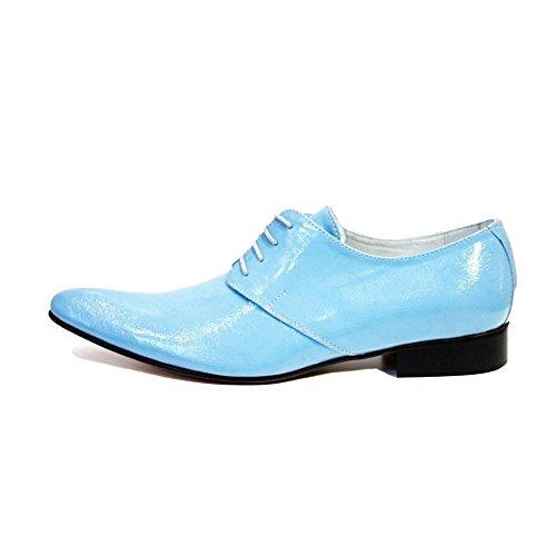 PeppeShoes Modello Catanzarol - Handgemachtes Italienisch Leder Herren Blau Oxfords Abendschuhe Schnürhalbschuhe - Rindsleder Lackleder - Schnüren