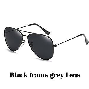 2017 Fashion sunglasses Men women Large frame Anti-glare aviator aviation sunglasses driving UV400, Black Frame Grey Lens.