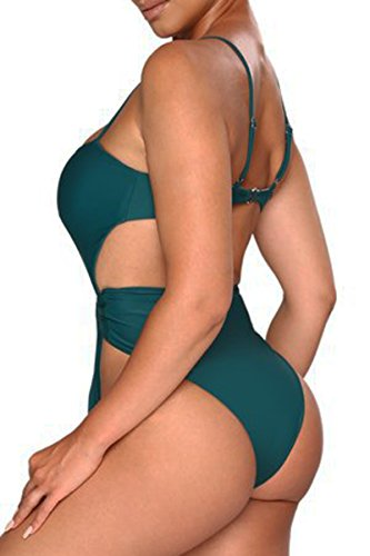 ioiom Women Sexy Spaghetti Strap Self Tie Front High Waist Cut One Piece Swimsuit Green M by ioiom (Image #1)