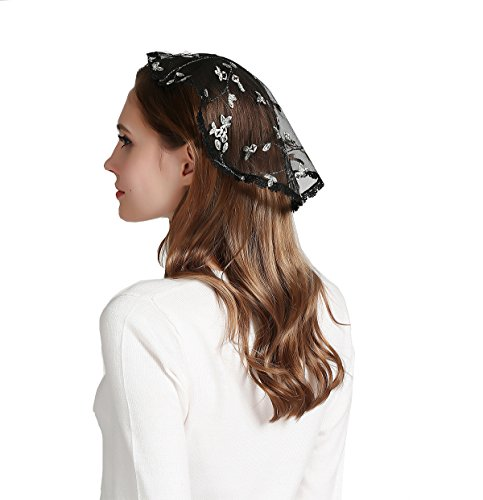 Embroidery head covering flowers lace chapel cap V49 (Dark color)