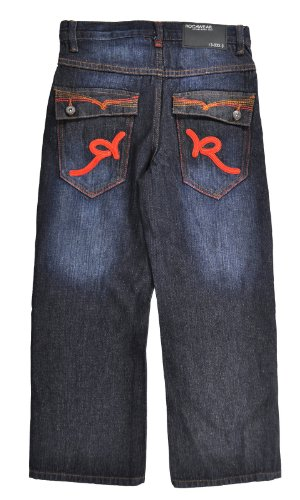 (Rocawear Big Boy Dark Indigo Denim Flame Jean)