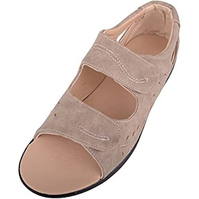ABSOLUTE FOOTWEAR Womens Lightweight Wide Fitting Casual Summer/Holiday Sandals/Shoes - Taupe - US 6