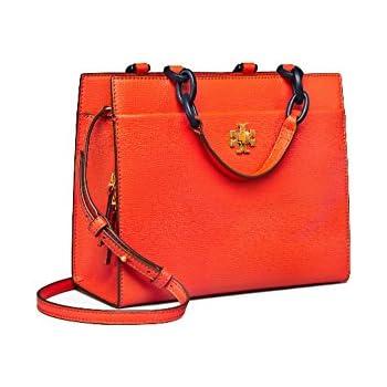 2c6dd7d40eb Tory Burch Kira Italian leather Small Cross-Body Tote Shoulder Bag (Poppy  Red)