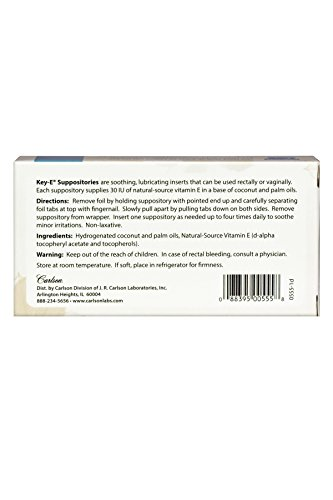 Carlson Key E Suppositories, Vitamin E, Box of 12