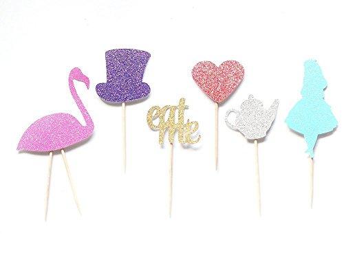 Alice-in-Wonderland-Glitter-Cupcake-Toppers