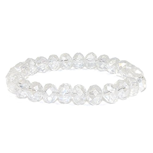 POMINA Hand Faceted Crystal Beaded Stretch Bracelets (AB Crystal)