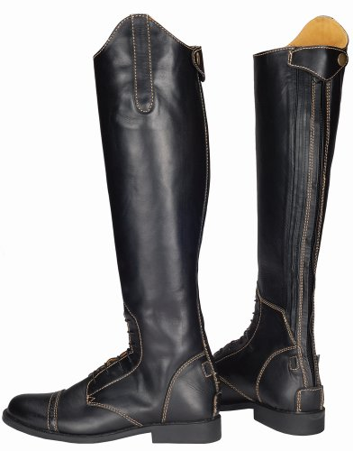 TuffRider Women's Natasha Leather Field Boots, Black/Light Tan, 85 Slim