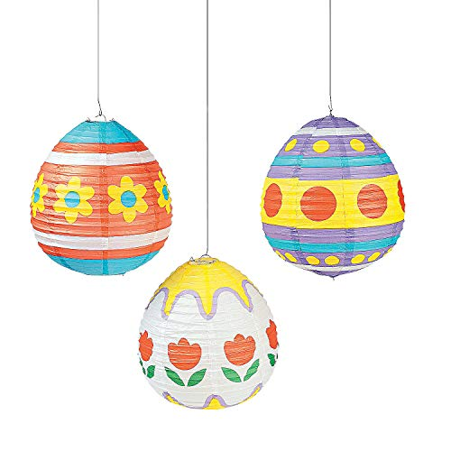Fun Express - Easter Egg Lanterns (3pc) for Easter - Party Decor - Hanging Decor - Lanterns - Easter - 3 Pieces ()