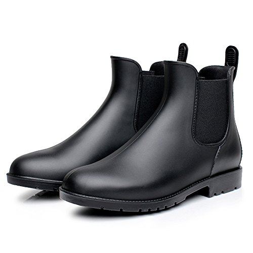 Colorxy Women's Ankle Rain Boots Fashion Elastic Chelsea Booties Anti Slip Waterproof Slip On Short Rain Booties Black