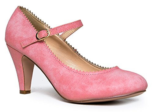 Heels Round Mary Pink Honey Kitten Jane Strap by Adjustable Toe Vintage Shoe Scallop Adams J Rose With Retro Pu An 8IUnf8