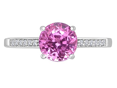(Star K Round 7mm Created Pink Sapphire Solitaire Engagement Ring 14 kt White Gold Size 8)