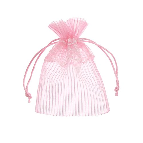 SumDirect 20Pcs 4x6 Inches Pink Lace Organza Gift Bags with Round Drawstring
