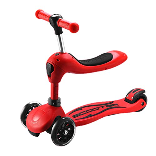 ZAQ Red Scooters with Adjustable Seat for Girls Boys, Lightweight Kids Scooter with Light up Wheels, 2-7rd Kids Outdoor Sports -