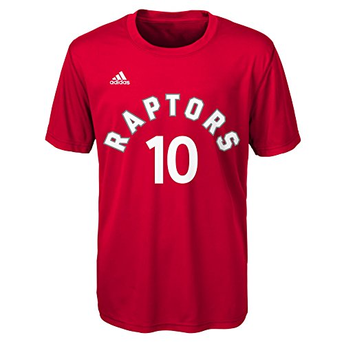 NBA Youth Boys 8-20 Derozan D Raptors Short Sleeve Player Performance Name and Number Tee, M (10-12), Red