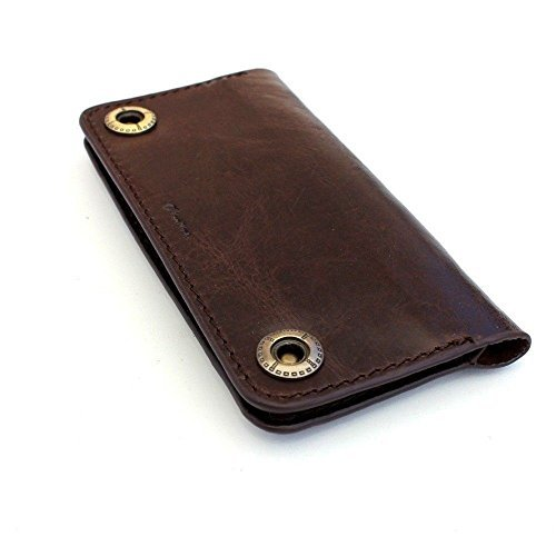 for Iphone 5 5s 5c SE 4s 4 S Book Wallet closure cover Handmade Id cards slots slim dark brown thin daviscase ()