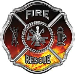 REFLECTIVE Traditional Fire Rescue Fire Fighter Maltese Cross Sticker / Decal with Real Fire