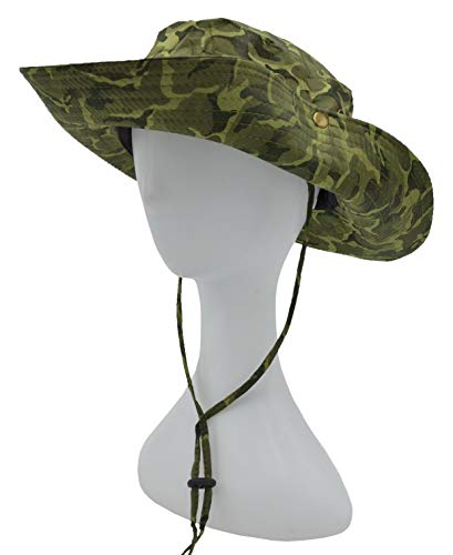Outdoor Summer Boonie Hat for Hiking, Camping, Fishing, Operator Floppy Military Camo Sun Cap for Men or Women (Green (Dark Camo))