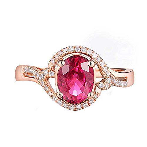 (Beyond jewelry Natural Oval 6x8mm Pink Tourmaline for Women Wedding Engagement Ring Set Solid 14K Rose Gold)