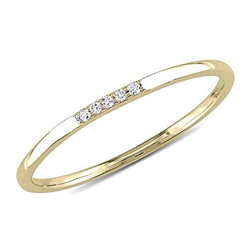 (0.03 CT. Five-Stone Round Natural Diamond Wedding Band 10K Yellow Gold For Women)