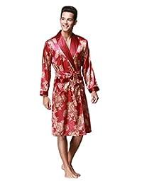 Daysoft J.Cotton Men's Shawl Collar Kimono Satin Robe Bathrobe/Sleepwear/Pajama