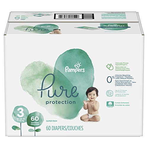 Diapers Size 3, 60 Count - Pampers Pure Disposable Baby Diapers, Hypoallergenic and Fragrance Free Protection, SUPER ()