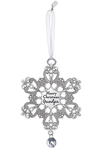 Ganz Snowflake Wishes Ornament, Merry Christmas Grandpa