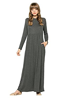 My Space Clothing Women's Soft Knit Jersey Babydoll Maxi Dress w/Pocket-Made in USA