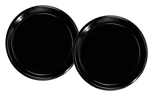 Party Essentials Soft Plastic 16-Inch Round Flat Catering Trays, Black, 2-Pack ()