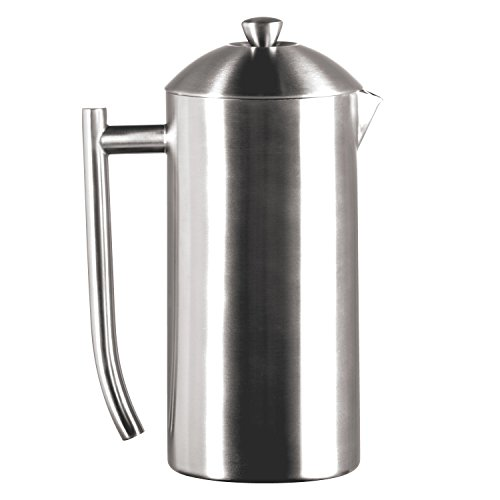 Frieling USA Double Wall Stainless Steel French Press Coffee Maker with Patented Dual Screen, Brushed (Stainless Steel Insulated French Press)