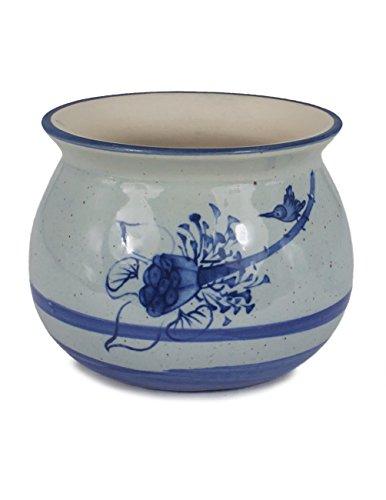Dahlia Blue White Mini Lotus Hand Painted Ceramic Succulent Planter/Plant Pot/Flower Pot, - Plant Pots Painted