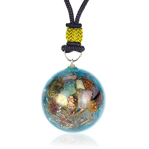 (New Orgone Necklace for Ultimate Protection | Multi Tourmaline Orgonite Pendant for EMF Protection - Anxiety - Unconditional Love - Healing Crystal Chakra Jewelry - Healing Stone Pendant )