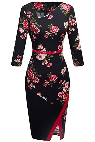 HOMEYEE Women's Elegant Patchwork Sheath Sleeveless Business Dress B290(4, Floral)