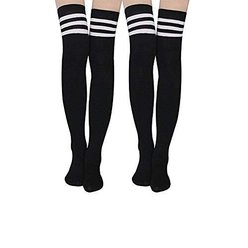 (Wander G Women Stripe Tube Dresses Socks Over the Knee High Socks Thigh High Stockings Cosplay Long Socks(Black Double))