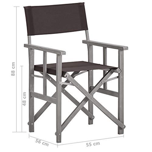 Regissörstolar, 2 st vikbar makeupartist massiv akacia träregissörsstol uteplats stol, 55 x 56 x 88 cm